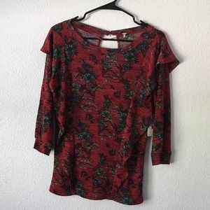 Free People Red Long Sleeve floral top